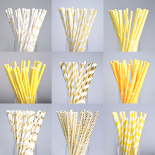 25pcs Gold Yellow Dot Paper Straws For Birthday Wedding Decorative Event Party Supplies Environmental Creative Drinking Straws