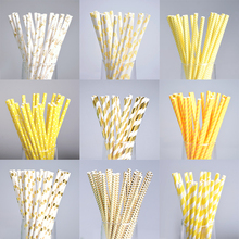 25pcs Gold Yellow Dot Paper Straws For Birthday Wedding Decorative Event Party Supplies Environmental Creative Drinking Straws(China)