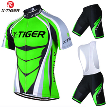 X-Tiger Short Sleeve Cycling Jersey set Flour Green MTB Bike Clothes Mans Summer Bicycle Clothing Maillot Conjunto Ropa Ciclismo(China)