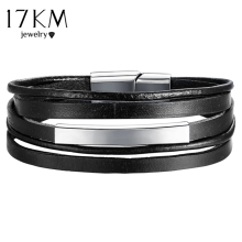 17KM Fashion Unisex Leather Bracelet For Men Women Vintage Rock Rope Chain Charms Bracelets Multiple Layers Party Jewelry Gifts(China)