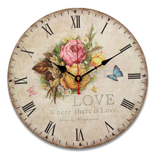 SFDC-rose flower butterfly Round Creative Wood wall clock