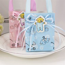 Cartoon Prints Baby Pacifiers Bottle Paper Candy Bag Girl Boy Birthday Favor Box Gift kids Shower Decoration Silk Ribbon Handbag(China)
