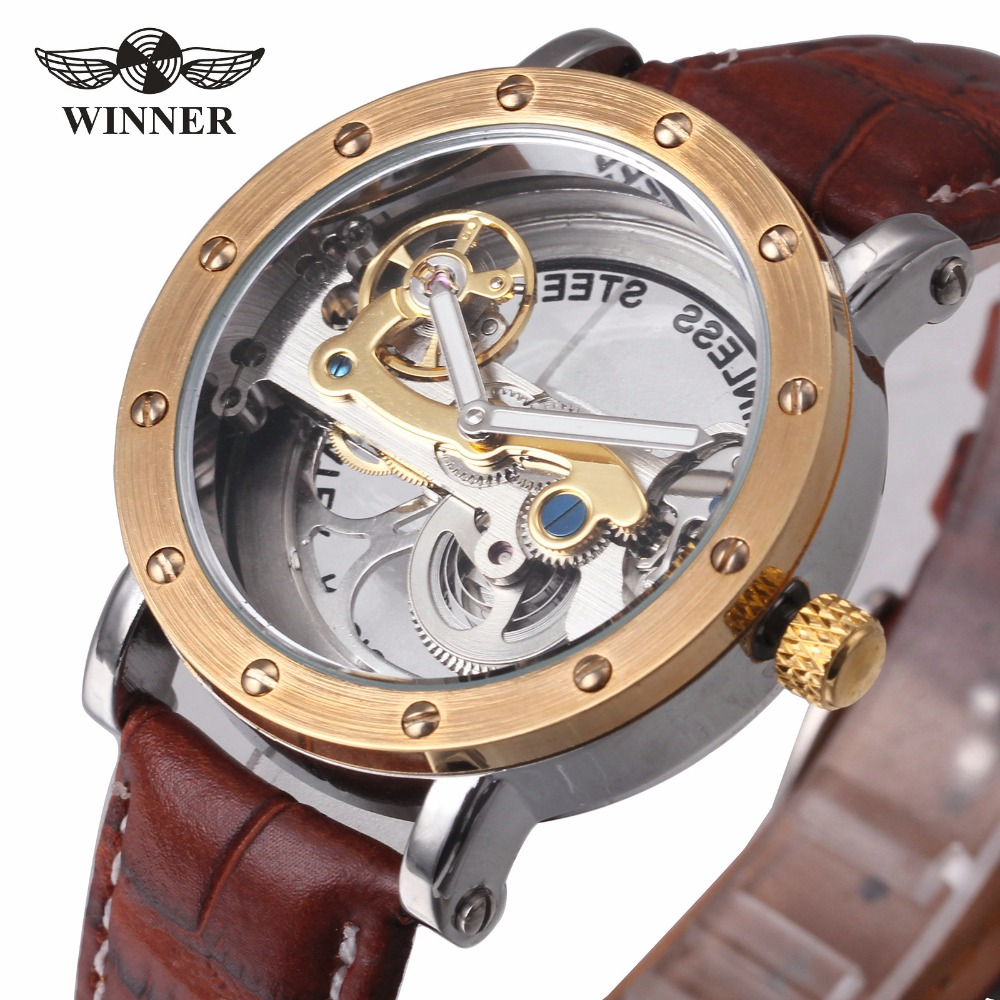WINNER Luxury Dress Mens Auto Mechanical Watch Golden Bridge Brown Leather Brushed Bezel Top Brand Design Wristwatch Best Gift <br>