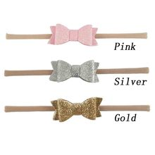 Solid Stretch Nylon Headband For Girls Kids 3 INCH Bling Glliter Bow Hair Band Hair Accessories