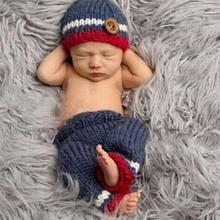 Newborn Photography Props Handmade Knitting Blue Red Baby Cap Beanie Pants Accessories For 0 to 3 Months Baby Clothes