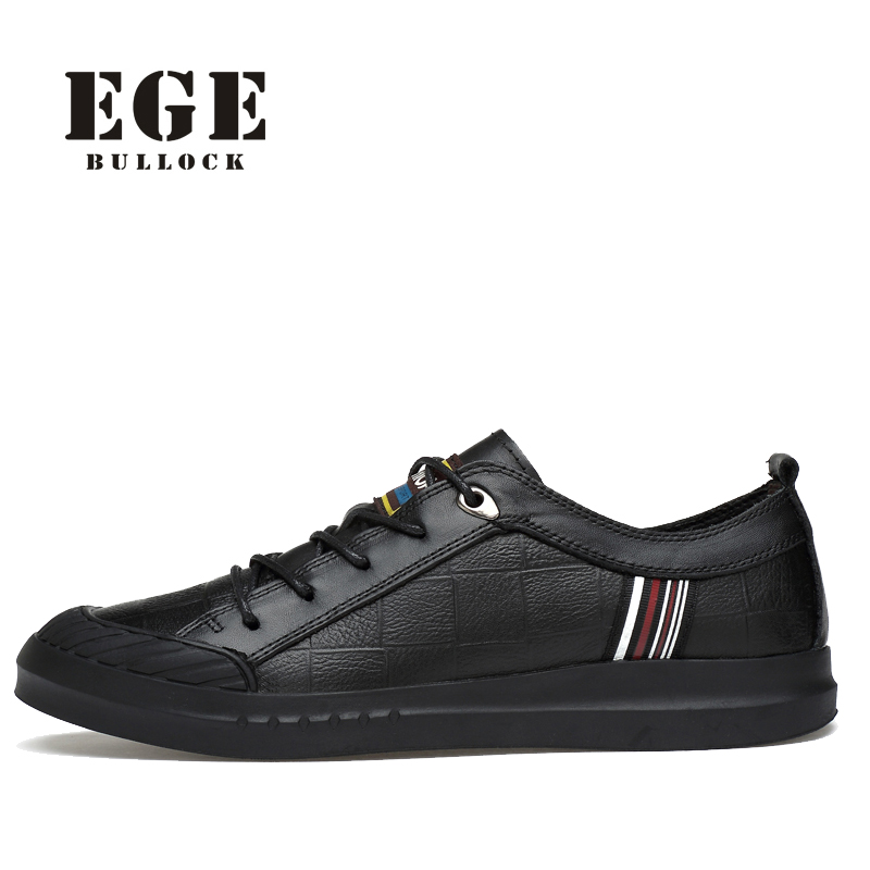 EGE Brand New Arrive Autumn Geninue Leather High Quality Casual Shoes For Men Lace-Up Solid Breathable Waterproof Men Shoes <br>