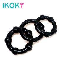 Buy IKOKY 3 pcs/set Cock Ring Penis Sleeve Sex Products Silicone Black/White Sex toys Men Male Penis Ring Delay Ejaculation