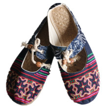 Cow muscle sole women's Beijing ethnic style cotton embroidered vintage slippers female casual mesh flax indoor/outdoor sandals