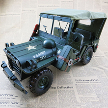 Large classic car model military model Father's Day creative gifts antique iron pure hand home decorations furnishing articles