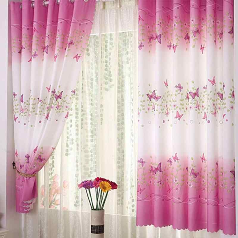 1pc Country Style Butterfly Short Window Curtains for Living Room Curtains for Bedroom Butterfly Curtain for Girl Princess