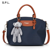 S.P.L. Brand Hot Sale Nylon Water Proof Handbag Fashion Shoulder Tote Bag Women With Bear Decoration Ladies Bag