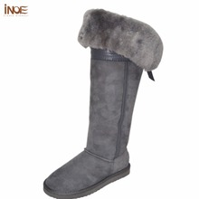 INOE 2017 over the knee real sheepskin leather fur lined winter suede long snow boots for women bowknot thigh winter shoes