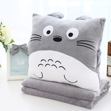 Cartoon Plush Pillow blanket quilt dual use Car nap pillow Air conditioning blanket Coral velvet Cushion Three in one black cat(China)