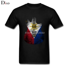 Guitar Flag Philippines Flag T Shirt Men's Great Short Sleeve Crewneck Cotton Big Size Couple Tshirt(China)