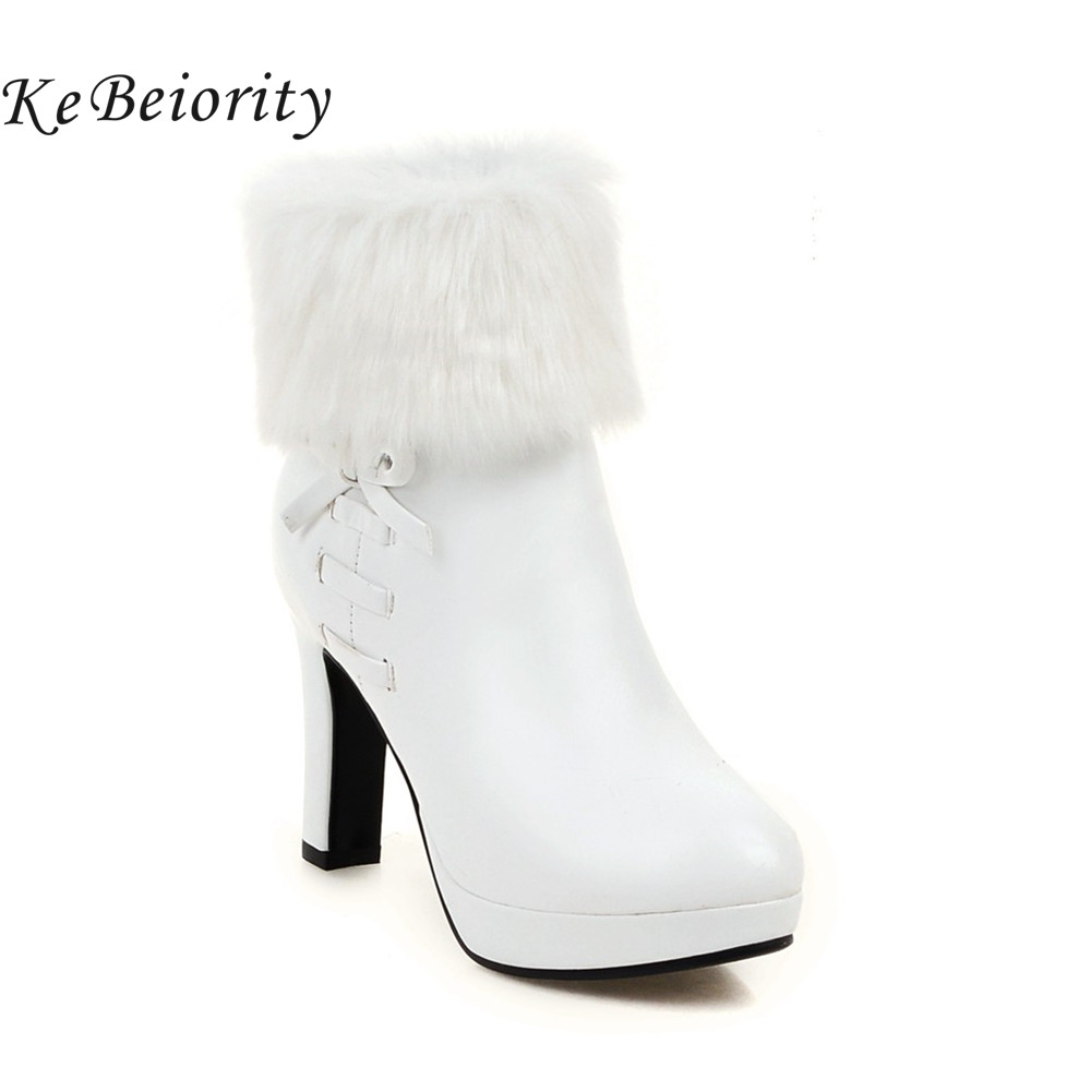 New 2017 high heels boots women autumn and winter boots platform shoes thin heel women black ankle boots heels white shoes <br>