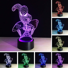 New 3D Lamp Attack Spider Man Gradient Led Night Light Kids Toys Table Lampara Creative Festival Birthday Cool Boy Gifts Gadget