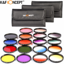 K&F CONCEPT 52/58/67mm 18pcs Graduated and Full Color Lens Filter Kit Orange Blue Grey Red Purple Green Brown Yellow Pink Filter(China)