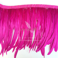 5m high quality cock feather rose trim dress / clothes / clothes 12-14 inch / 30-35 cm ribbed feathers trimmed hair, DIY handma