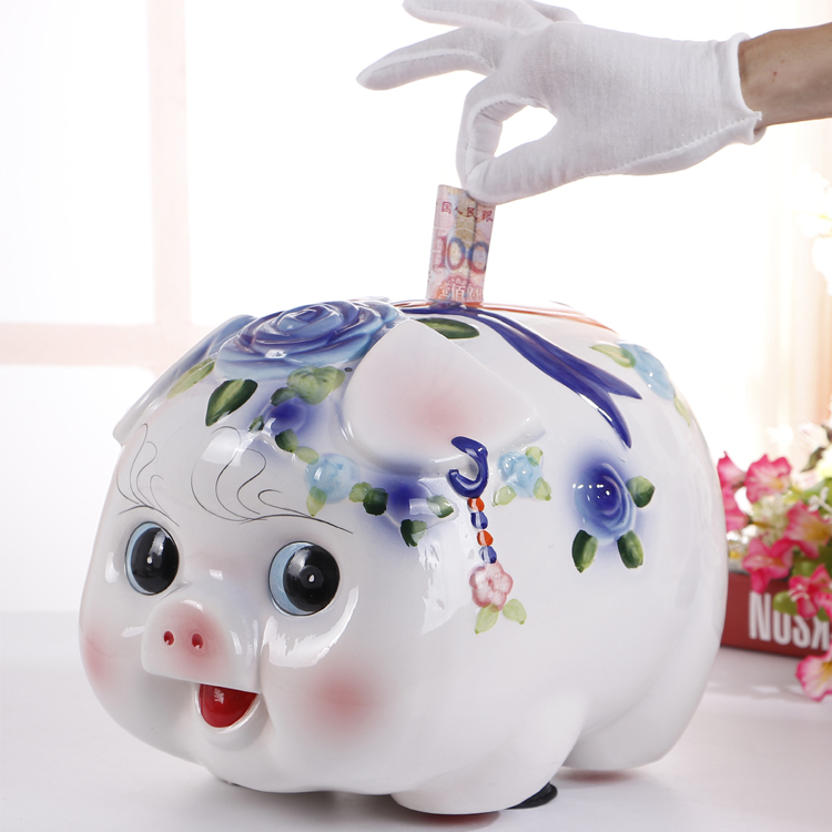 Crafts Arts Home decoration Ceramic pig piggy bank small pig piggy piggy bank creative felicitous wish of making money gift birt(China)