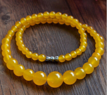 Free Shipping 002754 6-14mm Natural Yellow stone Round Beads Necklace 17""