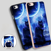 Moon Cat black cats bring good luck Soft TPU Silicone Phone Case Cover for iPhone 4 4S 5C 5 SE 5S 6 6S 7 Plus