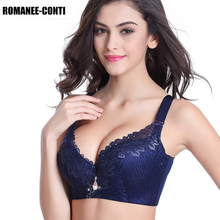 3/4 Cup Women Sexy Bralette Underwear Lingerie Push Up Bras Embroidery Deep V Breathable Lace Bra 38 40 42 44 46 48 50 D E Cup