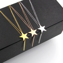 Martick Europe Style Stars Love Letters Pendant Necklace With Round Bar Tassel For Woman Steel Double Link Necklace P37(China)