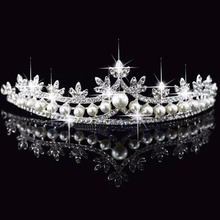 New Rhinestone Crystal Pearl Crown and Tiara Wedding Bridal Flower Veil Headband