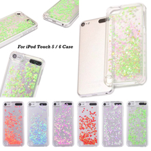 For iPod Touch 5/6 Love heart Dynamic Glitter Sequins Phone Case For Apple ipod Touch 5 Transparent Hard PC Back Shell Cover