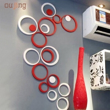 JY 12 Mosunx Business 2016 Hot Selling 1 Set Indoors Decoration Circles Creative Stereo Removable 3D DIY Wall Stickers