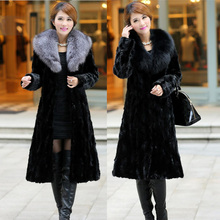 2017 new winter Women Warm Thick Long Plus Size Winter Coat with Fur Collar black fox fur mink hair fur coat faux fur coat 6XL