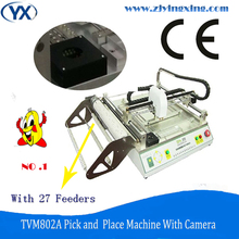 27 Feeders Low Cost Pick and Place SMT Desktop LED Assembly Machine PCB Pick Place Machine with Camera TVM802A(China)