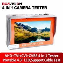 Portable 4 in 1 AHD+TVI+CVBS +CVI Camera Tester 1080P CCTV Tester 4.3 Inch LCD Video Test 5V/12V Power Output Cable Test