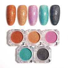 1 Box Holographic Colorful Shining Laser Glitter Powder Ultra-thin 5 Colors Nail Dust Manicure Nail Art Glitter Powder