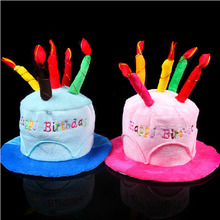 Birthday Cake Candle Hat Short Plush Adult Party Amusement Park Supplies Performing Dress Props Dog Cap
