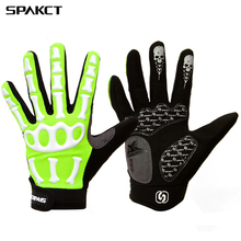 SPAKCT  SKULL Bone Riding Driving Cycling Long Gloves Sport Full Finger Non-slip Bike Bicycle Winter Gel Glove guantes ciclismo