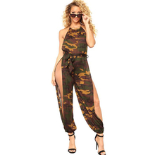 Buy 2018 Summer Casual jumpsuit women sexy split jumpsuits rompers Halter wrapped chest Camo club nightsuit playsuits overalls B505