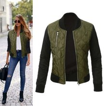 Fashion Women Jacket Short Padded Baseball Coat Top Outerwear  Short Jacket