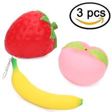 Pack of 3 Slow Rising Squishy Strawberry Peach Keychain Jumbo Banana Kawaii Decompression Toys Cell Phone Charms Pendants Strap