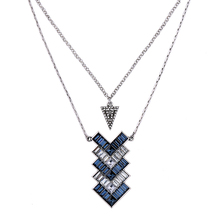 Blue Geometric OL Style Arrow Pendant Necklace Bib Statement Silver Color Chain Collar Necklace Charm Fashion Jewelry