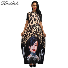 Kostlich Women Dress O-Neck Leopard Beauty Print Dress Women Maxi Long Dresses Summer Loose Casual Womens Clothing Sundress(China)