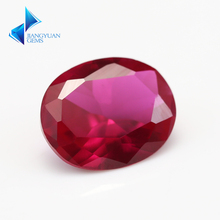 Factory Price 5# 50pcs 3x5~10x12mm Oval Cut Red Stone Synthetic Corundum Gems stone For jewelry(China)