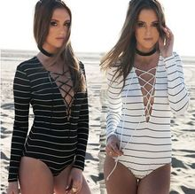 2016 fashion explosion models long sleeved striped jumpsuits are deep V band backing holiday package sexy bodysuits T391