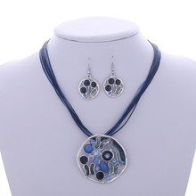 Fashion Jewelry sets Factory price Wholesale Drop earrings Hollow Round Pendant necklace Leather Rope Chain set jewelry set