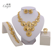 2017 fashion african beads jewelry set Gold Color Crystal Wedding Women Bridal Accessories dubai jewelry for Wholesale customer(China)