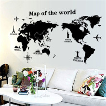 Black White World Map Wall Sticker Creative Removable PVC Art Mural Decal Modern Wall Sticker Home Dining Bed Room Decor(China)