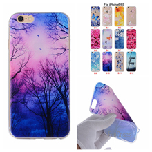 Cartoon Flower Butterfly Bear Tree Painted Back Cover Silicon Gel Soft TPU Mobile Phone Case For iPhone 6 6S Plus coque aksesuar