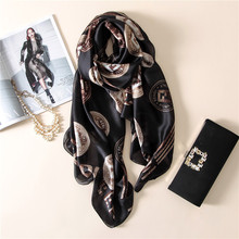 2017 new luxury brand spring summer women scarf fashion print silk scarves female bandana shawl lady soft foulard