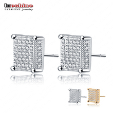 LZESHINE Golden/Silver Color Micro Inlay AAA Cubic Zirconia Square Earring Stud For Fashion Women CER101(China)