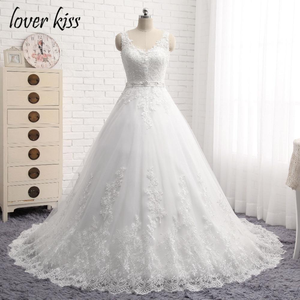 Lover Kiss Vestido De Noiva New Design A Line Lace Wedding Dress V Neck Beaded Sash Backless Sexy Vintage Gowns Wedding Dress 2